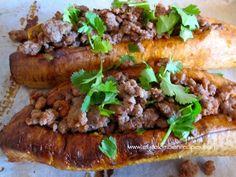 Plátanos Maduros Rellenos de Carne (Ripe Plantains Stuffed with Meat)..healthier cheesesteak alternative