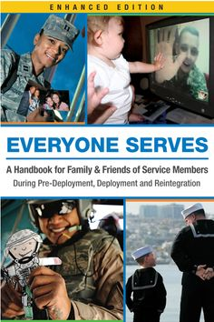 EVERYONE SERVES: A Handbook for Family & Friends of Service Members During Pre-Deployment, Deployment and Reintegration ~ designed to address a subject that's not discussed enough: the full spectrum of emotions that accompany a military deployment life cycle. That means not just looking at post-deployment reintegration but also examining other parts of the equation: pre-deployment, deployment, and reunion periods. FREE e-book! #Military #Spouse #Books…
