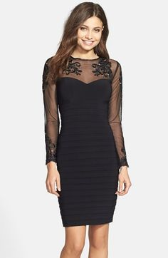 Free shipping and returns on Xscape Embellished Stretch Sheath Dress at Nordstrom.com. Decadent embroidery flecked with crystals details the sheer sweetheart-bustline yoke and sleeves of this chic cocktail dress that's shutter-pleated through the skirt.
