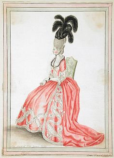 Dress of the year 1777, by Ann Frankland Lewis. I like to see other examples of trim that are not just straight serpentine-style. She's pretty classy.