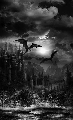 "darkness-withinme: ""Dragon's Castle. Gothic Fantasy Art, Fantasy Dragon, Fantasy Kunst, Gothic Horror, Arte Horror, Horror Art, Sci Fi Horror, Fantasy Places, Fantasy World"
