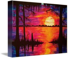 """Big Swamp Sunset"" by Elaine Adel Cummins, New Orleans // This big one was quite a task to paint. Painting a large water gouche is like juggling 10 balls at one time. It was fun. // Imagekind.com -- Buy stunning fine art prints, framed prints and canvas prints directly from independent working artists and photographers."