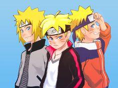 Minato Namikaze, Boruto Uzumaki, Naruto Uzumaki, all around the same age, I love love love this so much - Caitlin Anime Naruto, Naruto Minato, Naruko Uzumaki, Manga Anime, Naruto Gaiden, Naruto Fan Art, Naruto Cute, Naruto Shippuden Anime, Naruhina