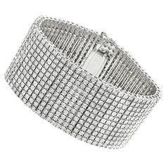 Sterling Silver Mens Diamond Cuff Bracelets 2 Carat 12 Row Tennis Bracelet
