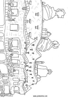 Architecture of Gaudi Pedrera coloring page. Interactive online coloring pages for kids to color and print online. Online Coloring Pages, Colouring Pages, Coloring Books, Barcelona Architecture, Paper Mosaic, Montessori Art, Antoni Gaudi, Caravaggio, Art Plastique
