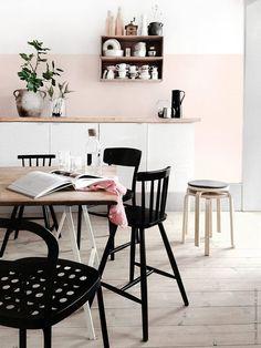 Dreamy Dining Room - Blush Pink Walls, Light Wood Accents, Black Pops | #LGLimitlessDesign #Contest (scheduled via http://www.tailwindapp.com?utm_source=pinterest&utm_medium=twpin&utm_content=post159446623&utm_campaign=scheduler_attribution)