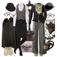 Steampunk. Maybe not that extreme, but I love the outfit to the left and possibly a bowler hat.