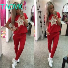 TAOVK 2016 new fashion Russian style women summer Five pointed star Sequin Beads tracksuit for women♦️ B E S T Online Marketplace - SaleVenue ♦️ http://www.salevenue.co.uk/products/taovk-2016-new-fashion-russian-style-women-summer-five-pointed-star-sequin-beads-tracksuit-for-women/ US $24.90