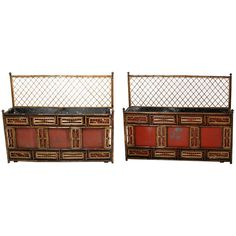 England  circa 1830  A rare pair of Regency Brighton Pavilion taste rattan jardinieres, a bamboo trellis above red tole bodies overlaid with bamboo fretwork panels
