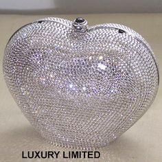 Judith Leiber Vintage Clear Crystal Puffy Heart Minaudiere Handbag Beaded Clutch, Beaded Purses, Beaded Bags, Vintage Bag, Vintage Purses, Judith Leiber, Formal Heels, Black White Gold, Cute Bags