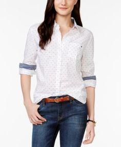 7ac0f70ecedc1 Tommy Hilfiger Dot-Print Shirt   Reviews - Tops - Women - Macy s