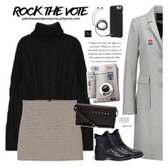 """Rock the Vote in Style / MANGO Houndstooth Skirt"" by palmtreesandpompoms ❤ liked on Polyvore featuring Maje, MANGO, Stuart Weitzman, Case-Mate, Caran D'Ache, RED Valentino, mango and rockthevote"