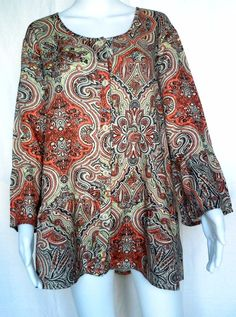 FLAX UNDERFLAX Southern Belle Top, Coral Paisley, L, Sleepwear / Blouse, NWOT #Flax #Blouse