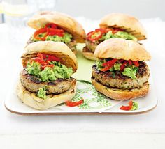 These healthy burgers are full of vitamin C and use low-fat turkey flavoured with herbs and topped with spicy avocado