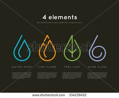 Nature elements. Water, Fire, Earth, Air. Infographics elements on dark background. Templates for renewable energy or ecology logos, emblems or cards. Alternative energy sources - stock vector