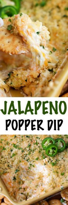 Jalapeno Popper Dip is my go to party appetizer.  Rich cream cheese, diced jalapenos and sharp cheddar are topped with crispy Panko bread crumbs and baked until warm and gooey.  The result is the most incredible dip, reminiscent of the appetizer we all lo