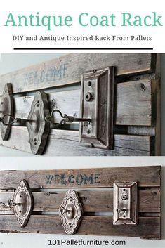 Antique Wood #Pallet Coat Rack | Pallet Furniture