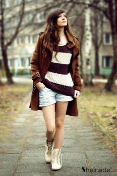 Coffee White Striped Long Sleeve Zipper Sweater - Sheinside.com #SheInside