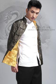 米尼也 热卖男士长袖真丝缎两面穿唐装外套 双面穿休闲中式男装