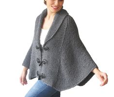 Plus Size Hand Knitted Poncho; $123.47Cdn; available in several colours; sizes M-4XL; ships from Turkey; by Afra on Etsy.com