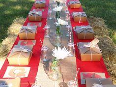 "love this ""kraft & red"" table setting-burlap runner, individual lunches, Mason jars"