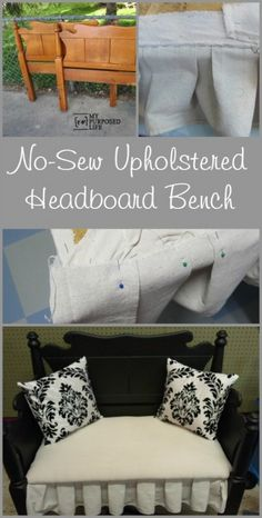 My Repurposed Life Headboard bench with easy upholstered NO-SEW seat