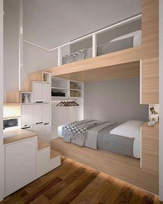 This bed fits perfectly for tiny spaces! The post This bed fits perfectly for tiny spaces!… appeared first on BlinkBox. Small Room Bedroom, Bedroom Loft, Small Rooms, Dream Bedroom, Home Bedroom, Bedroom Decor, Platform Bedroom, Dorm Room, Cute Bedroom Ideas