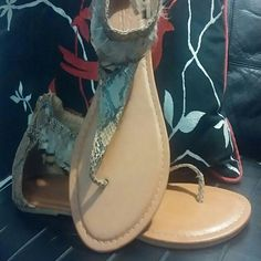 Fashion Summer Sandals with a touch of feathers! Super fashionable summer Tan and black snake skin pattern sandals. They wear beautifully with black shorts, jeans, or skirt! Twisted Shoes Sandals