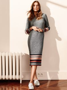 H&M Rib-knit Dress and Slip-on Shoes.  Shop the look in your size via EyeFitU app: www.eyefitu.com