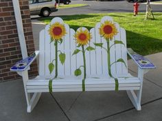 Sunflowers Rocker, Hand built Adirondak double rocker.  I hand painted the sunflowers on it, and did an original glass mosaic design on each arm.  One of a kind, quality work.  It is for sale., Home Decor Project