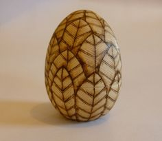 Wooden egg - leaf design - decorated with pyrography £20.00
