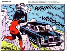 Japanese engineer Yoko Tsuno going against a Mercedes-Benz W115 in the comics album series created by the Belgian writer Roger Leloup
