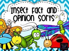 This product includes eight cut and paste sorts designed to help students practice distinguishing facts from opinions. Each sort has a different insect theme: firefly, butterfly, ant, ladybug, caterpillar, grasshopper, bee, and dragonfly. These are perfect for literacy centers or a quick skill assessment and would be a great addition to an insect unit. $ #factandopinion