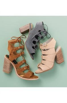 Free shipping and returns on Hinge 'Drea' Peep Toe Leather Sandal (Women) at Nordstrom.com. Eye-catching cutouts intensify the contemporary flair of a lace-up sandal set on a striking column heel.