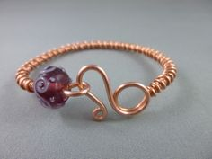 Wire Wrapped Cuff Bracelet - Copper Wire with Lampwork Bead (Ready Made) Wire Bracelets, Wire Wrapped Bracelet, Wire Work, Copper Wire, Lampwork Beads, Wire Wrapping, Jewelry Ideas, Heart Ring, Jewlery