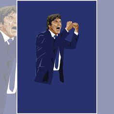 Antonio Conte portrait, part of a set of Premier League manager portraits