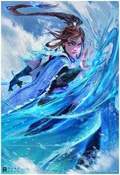 art,арт,красивые картинки,Avatar (мультсериал),фэндомы,avatar the last airbender,Katara,Ross Tran,RossDraws,artist
