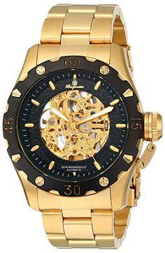 Burgmeister BM314-229 Nancy - Reloj de caballero automático, correa de acero inoxidable color oro-PREFERIDO-