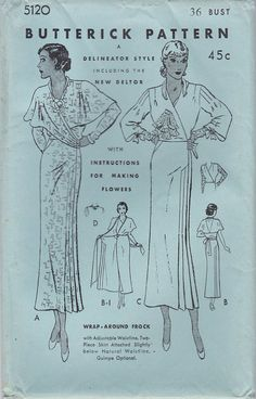 1930s Sewing Pattern Butterick 5120 One Piece Another wrap dress