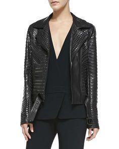 Night Studded Leather Moto Jacket $1377 #LOTD #gigihadid