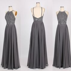 Grey Prom Dress, Backless Prom Dress,Chiffon Prom Dress,Floor Length Prom Dresses,Prom Dress 2016