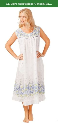 La Cera Sleeveless Cotton Lawn Plus Nightgown in Wildflower Bleu (1X  (18W-20W 7604636b2