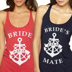 MORE COLORS - MINIMUM of 6 Nautical Bride , bridal tanks, bridal party shirts, glitter bride shirts, team bride shirts, bachelorette shirts,