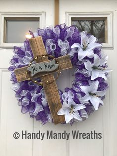 Easter Wreath Religious Cross He is Risen Wreath with purple and white mesh, a cross that says he is risen with imitation flowers. Christmas Mesh Wreaths, Easter Wreaths, Spring Wreaths, Summer Wreath, Christmas Yarn, Easter Projects, Easter Crafts, Easter Decor, Holiday Crafts