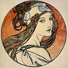 Fiber Arts - Crazy Quilt - Collage - Alphonse Mucha - Woman wearing head band…
