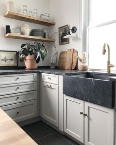 White Cabinets White Countertops, Soapstone Counters, Soapstone Kitchen, White Kitchen Cabinets, Painting Kitchen Cabinets, Wood Cabinets, Kitchen Countertops, Cupboards, Barn Kitchen