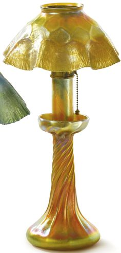 Tiffany Studios CANDLE LAMP shade and base engraved L.C.T. Favrile Favrile glass and gilt bronze 14 1/8  in. high