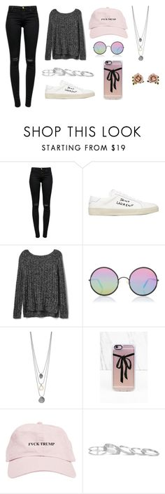 """Trump"" by layaneleitth on Polyvore featuring moda, J Brand, Yves Saint Laurent, Gap, Sunday Somewhere, Casetify, Kendra Scott e Les Néréides"