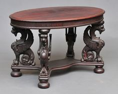 Victorian Winged Griffin Library Table