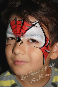 Spiderman Face Painting by Let's Bounce Inflatables, Vancouver Face Painters. www.letsbounceinflatables.ca 604-210-2339